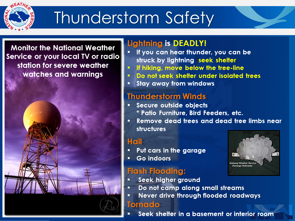 lightning safety graphic with tips on staying safe during a lightning storm.
