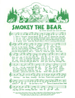 Smokey the Bear song sheet with music and lyrics