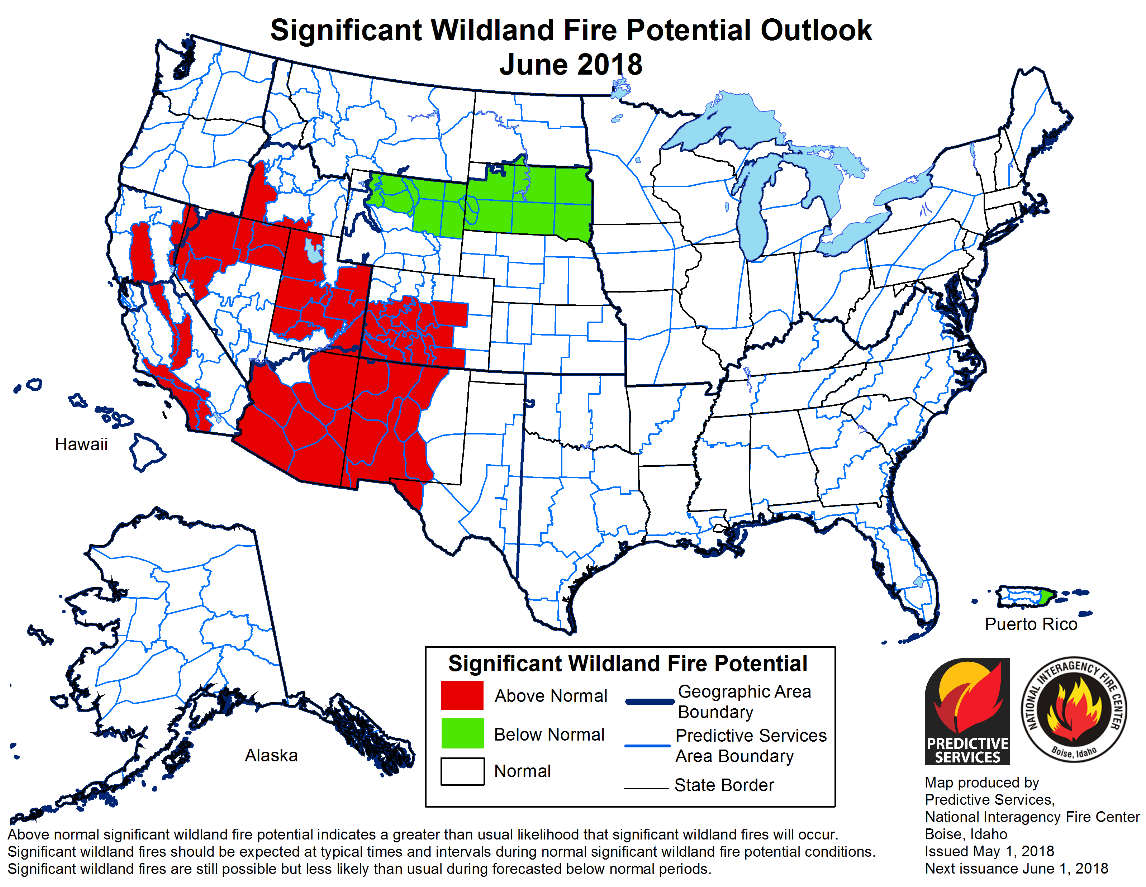 Map of significant National Fire potential