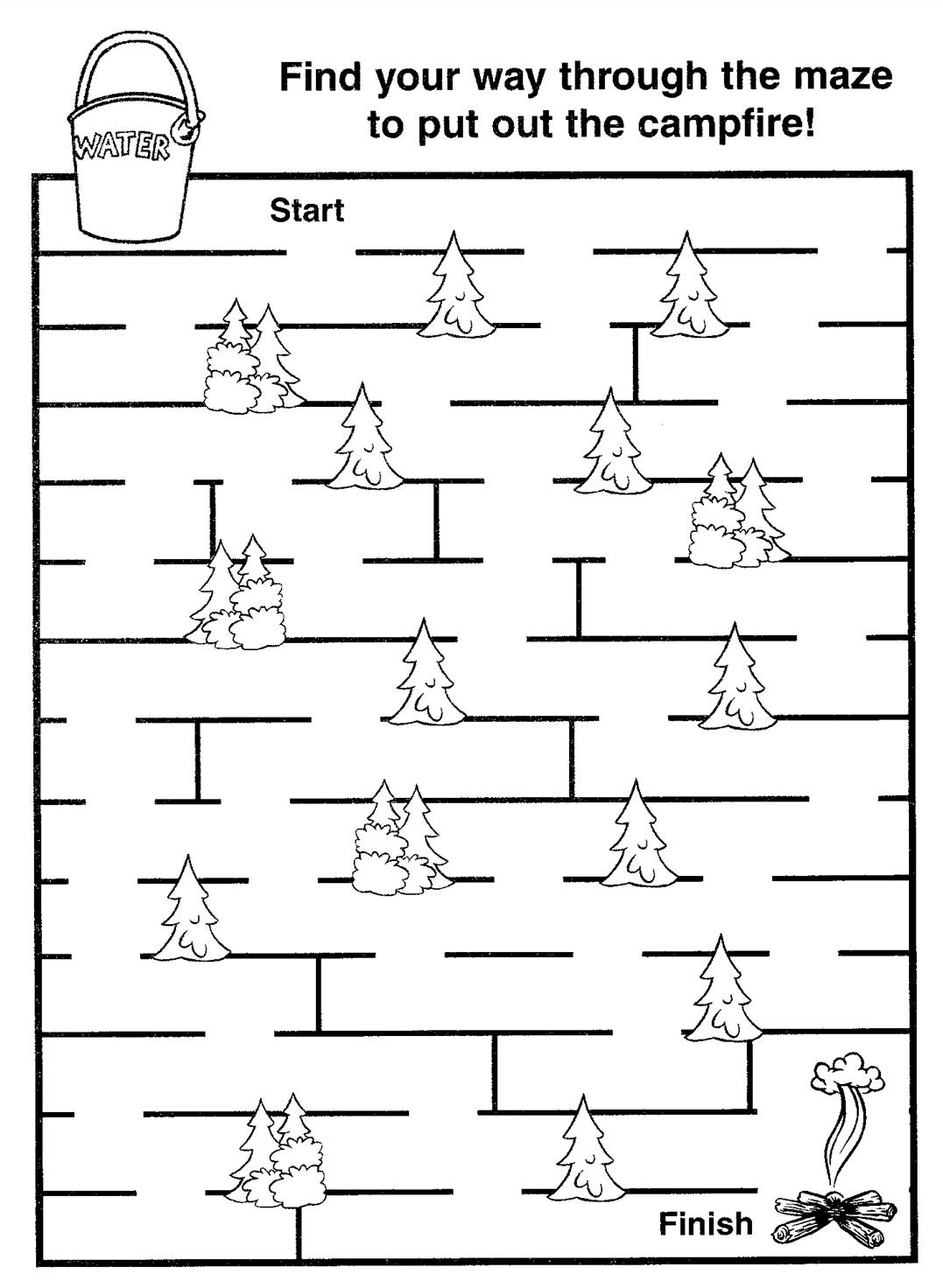 Smokey Bear fire prevention maze game