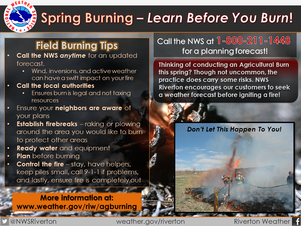 Snapshot of the Riverton National Weather Service 'Learn before you Burn' campaign with link to spring burning tips website