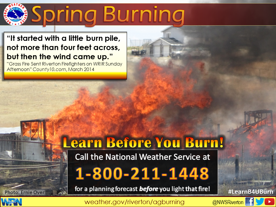 Learn Before you Burn poster graphic with information on spring burn safety
