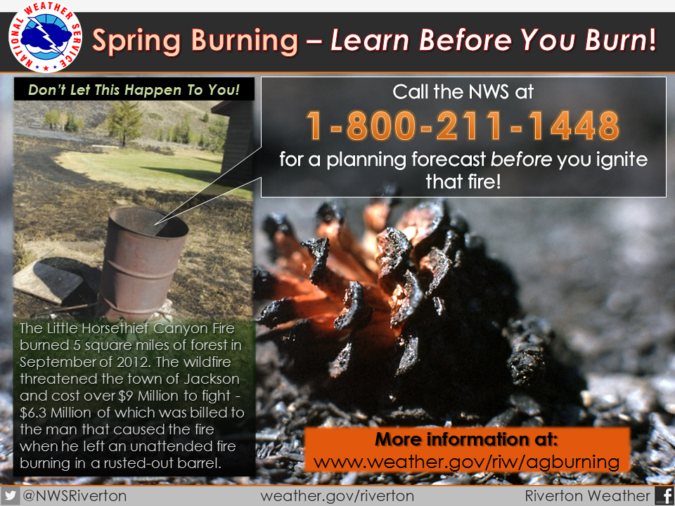 National Weather Service Learn Before You Burn campgain flyer with link to the site