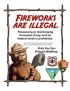 Fireworks Are Illegal poster. Posessing or discharging fireworks of any kind on public lands is prohibited. Graphic with Smokey Bear.