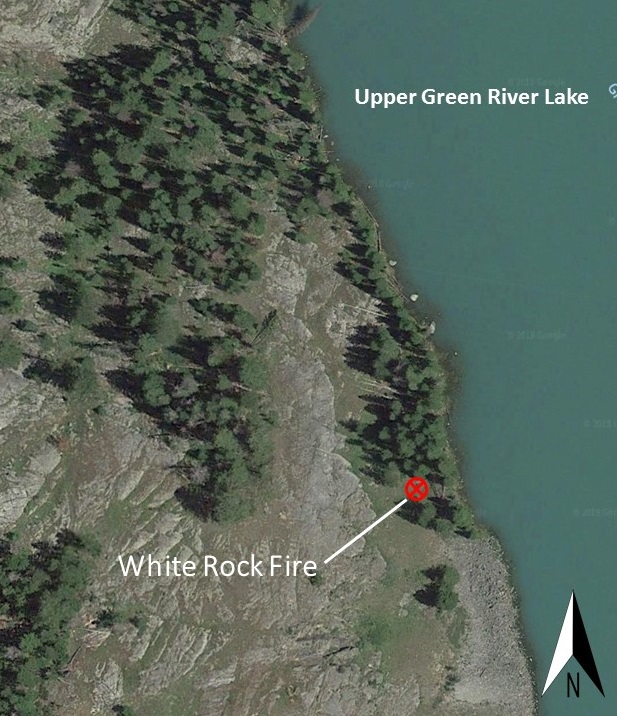 Google map image showing the fire location adjacent to the Upper Green River Lake.