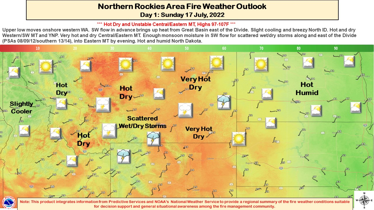 (Graphic) Map of Northern Rockies Geographic Area Fire Weather Outlook