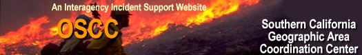 Graphic of two firefighters with fire in the background. Title is an Interagency Incident Support Website of the Southern California Geographic Area Coordination Center.