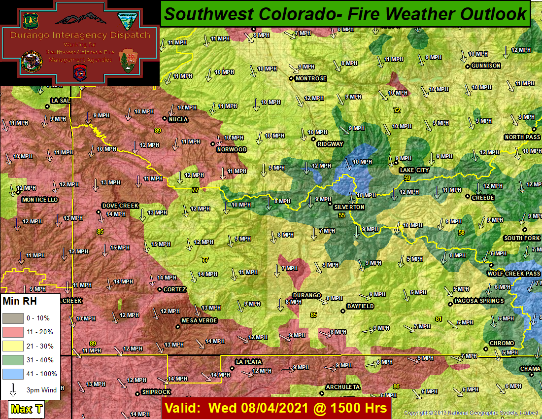 San Juan Day 1 Fire Weather Outlook