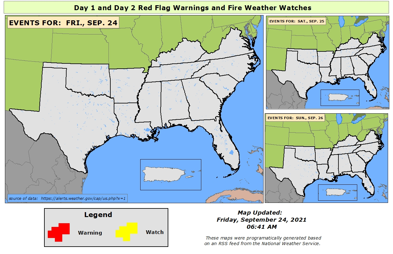 The Red Flag Map At Right Shows Where Red Flag And Fire Watch Alerts Have Been Issued By The National Weather Service The Map Displays Watches And Warnings