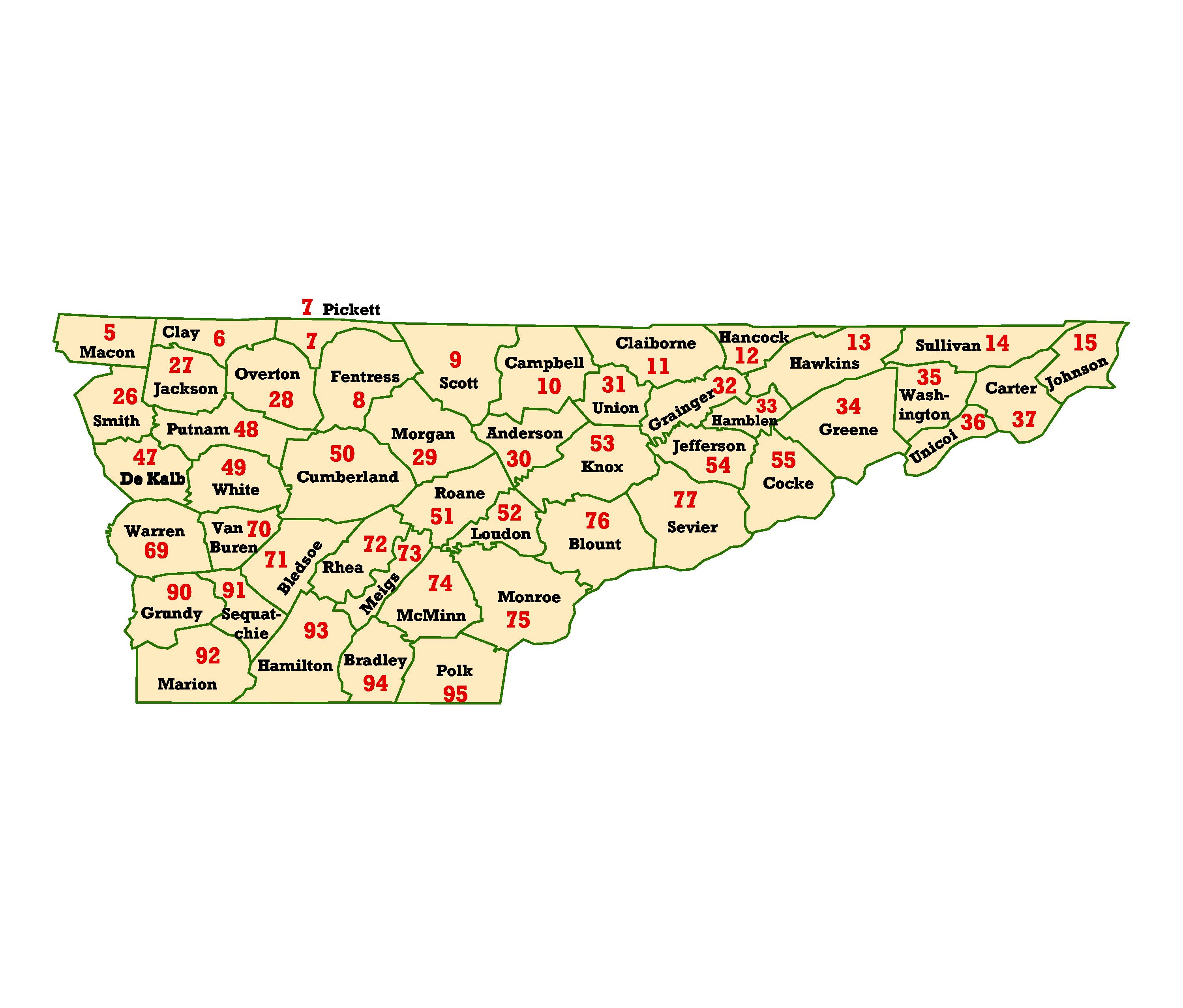 WIMS County ID Maps - Map of tn counties and cities