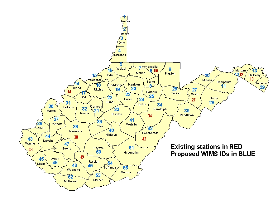 WIMS County ID Maps - Wv map with cities and counties