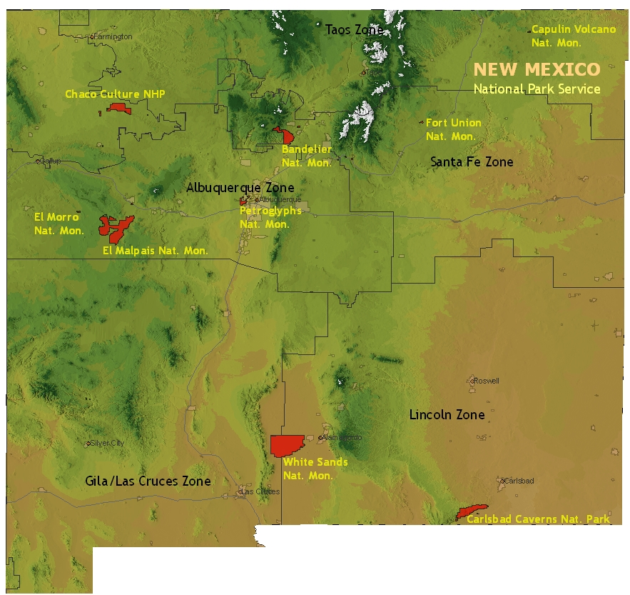 26 creative New Mexico National Parks Map bnhspinecom